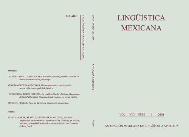 Nuevo número de Lingüística Mexicana (vol. VIII, 1, 2016)