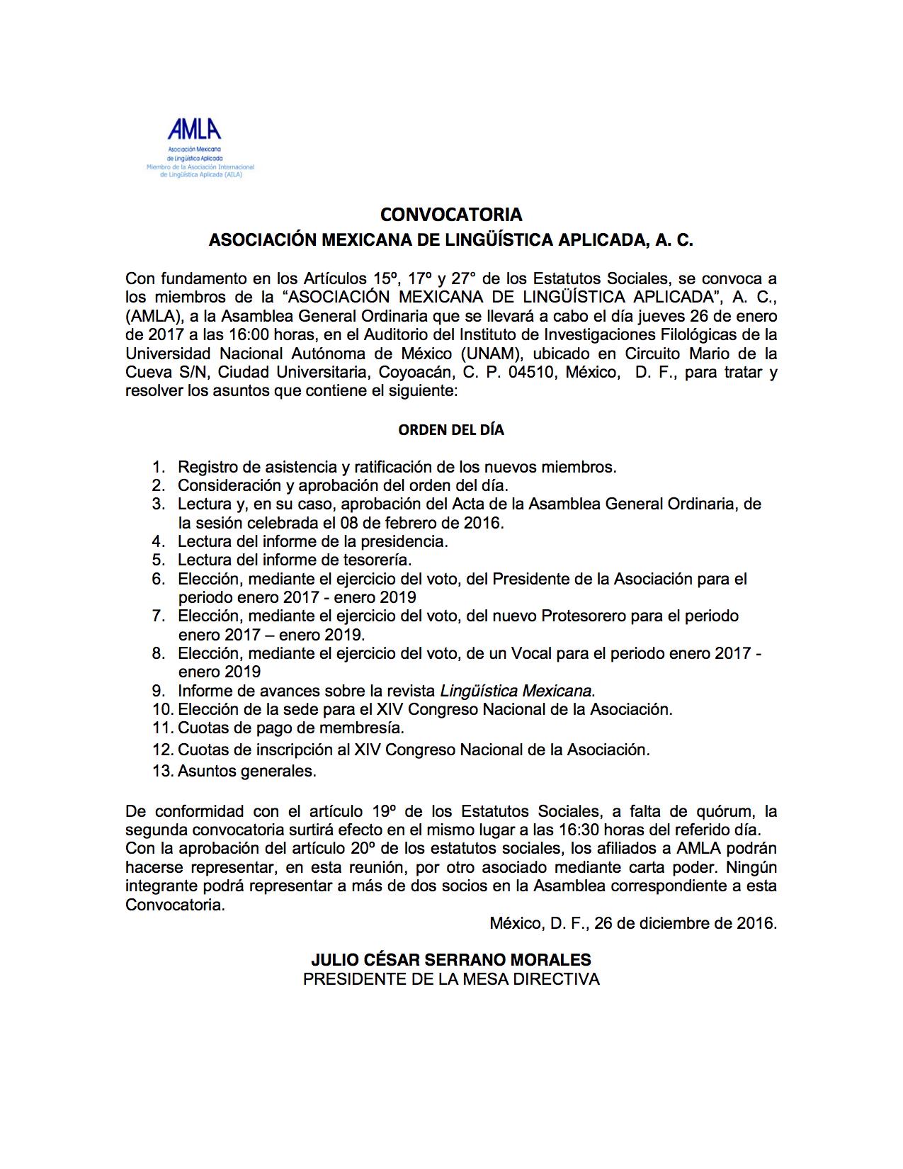 Convocatoria a la asamblea general ordinaria de amla enero for Convocatoria profesores 2016