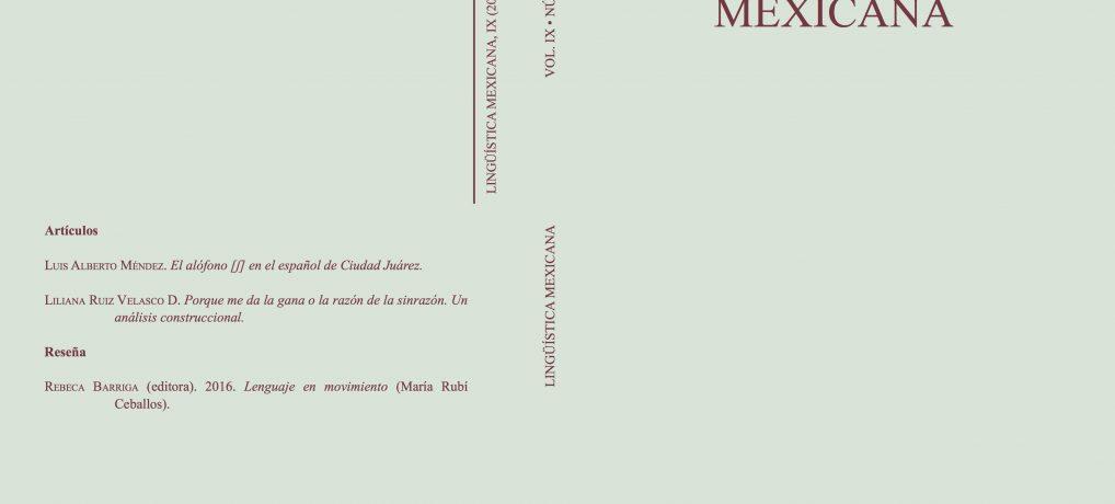 Nuevo número de Lingüística Mexicana (vol. IX, 1, 2017)